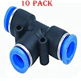 Utah Pneumatic 10 pack Plastic Push To Connect Fittings Tube tee Connect 8 Mm or 5/16 od Push Fit Fittings Tube Fittings Pneumatic Fittings ( 8mm tee)