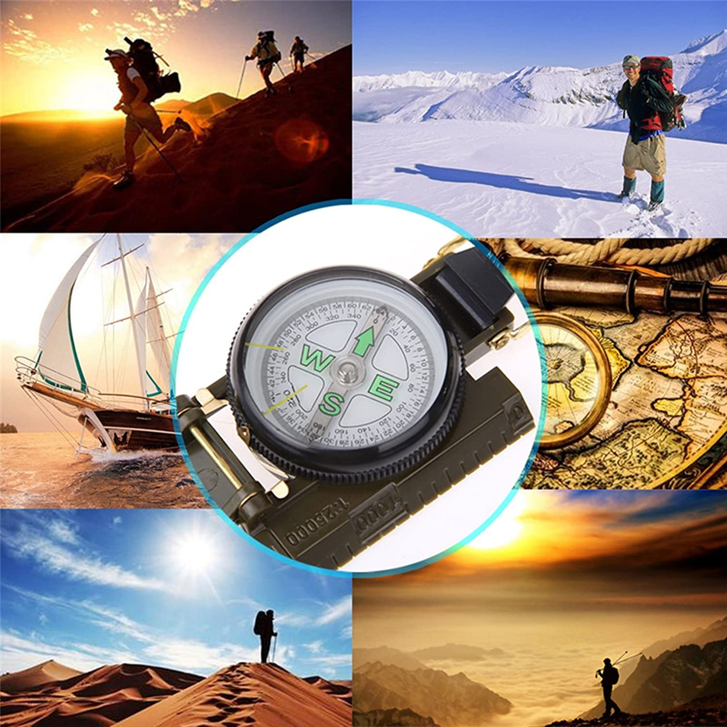 1 Pack Army Green Folding Lens Compass Keychain Dashboard Dash Mount Boat Survival Emergency Life Military Illustrious Popular Outdoor Hiking Waterproof Whistle Backpack Geometry Map Guide Tools Kit