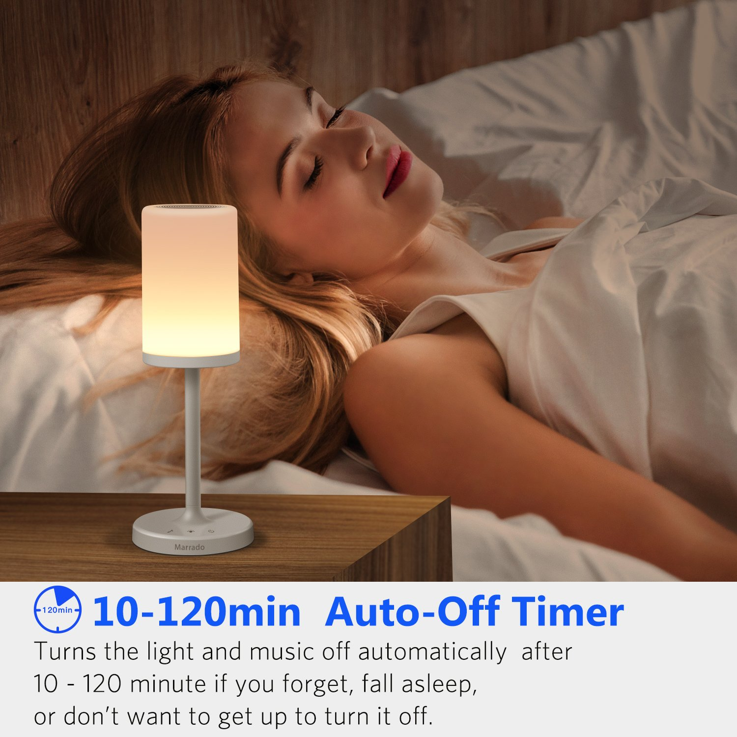 Marrado Bluetooth Speakers + Bedside Lamp, Night Light, Smart Touch Control Table Lamp for Bedroom Living Room, Portable Rechargeable LED Desk Lamp, Dimmable Warm White & Color Changing by Marrado (Image #5)