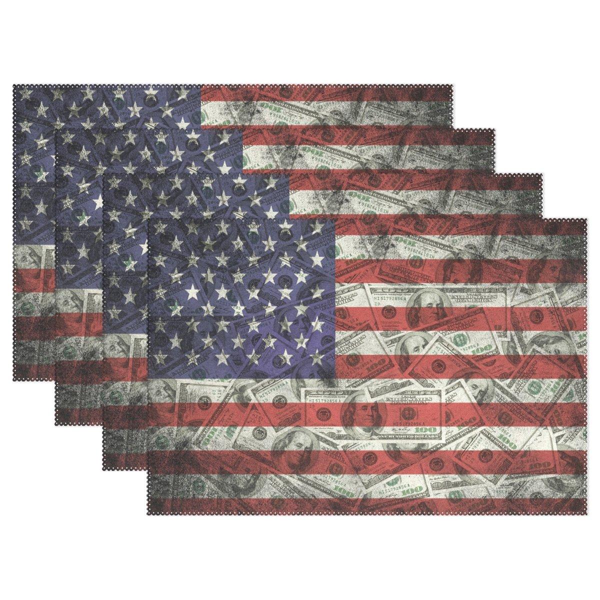 naanle多くの米国100ドルアメリカフラグプレースマットセットの1 / 4 / 6 Washableテーブルマットキッチンダイニングテーブルfor 12 x 18インチPlaceマット 1020618p145c160s239 4 マルチカラー B073VFNPLY