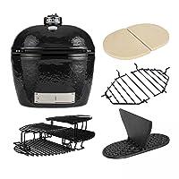 Primo Oval 400XL Keramikgrill Grill-Set XXL Keramik schwarz Ceramic Smoker Garten ✔ Deckel ✔ oval ✔ Grillen mit Holzkohle