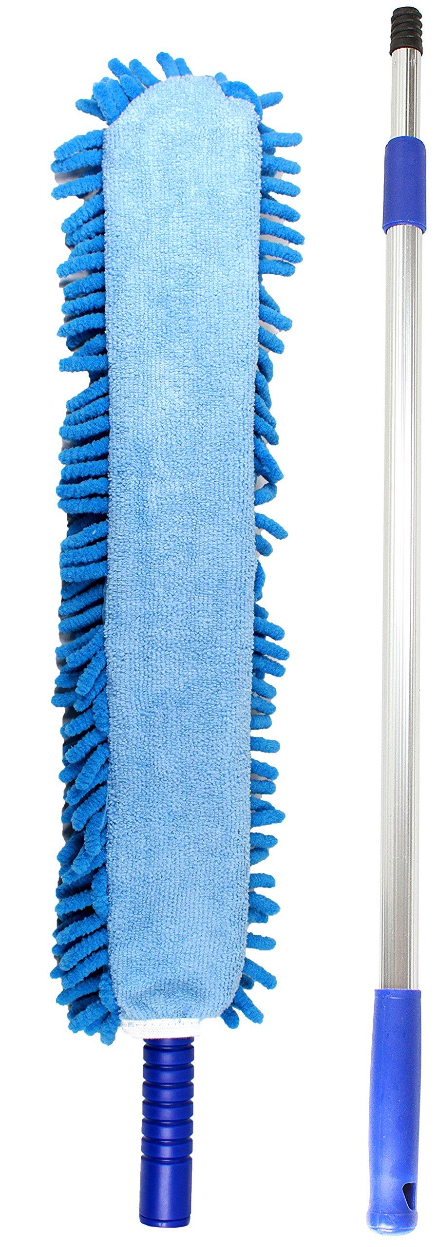 Jet Clean Chenille Microfiber Flat Hand Duster-Dust Appliances, Ceiling Fans, Blinds, Furniture, Shutters, Cars, Delicate Surfaces-Chenille-Extension Pole Reach 25-44'' by Jet Clean
