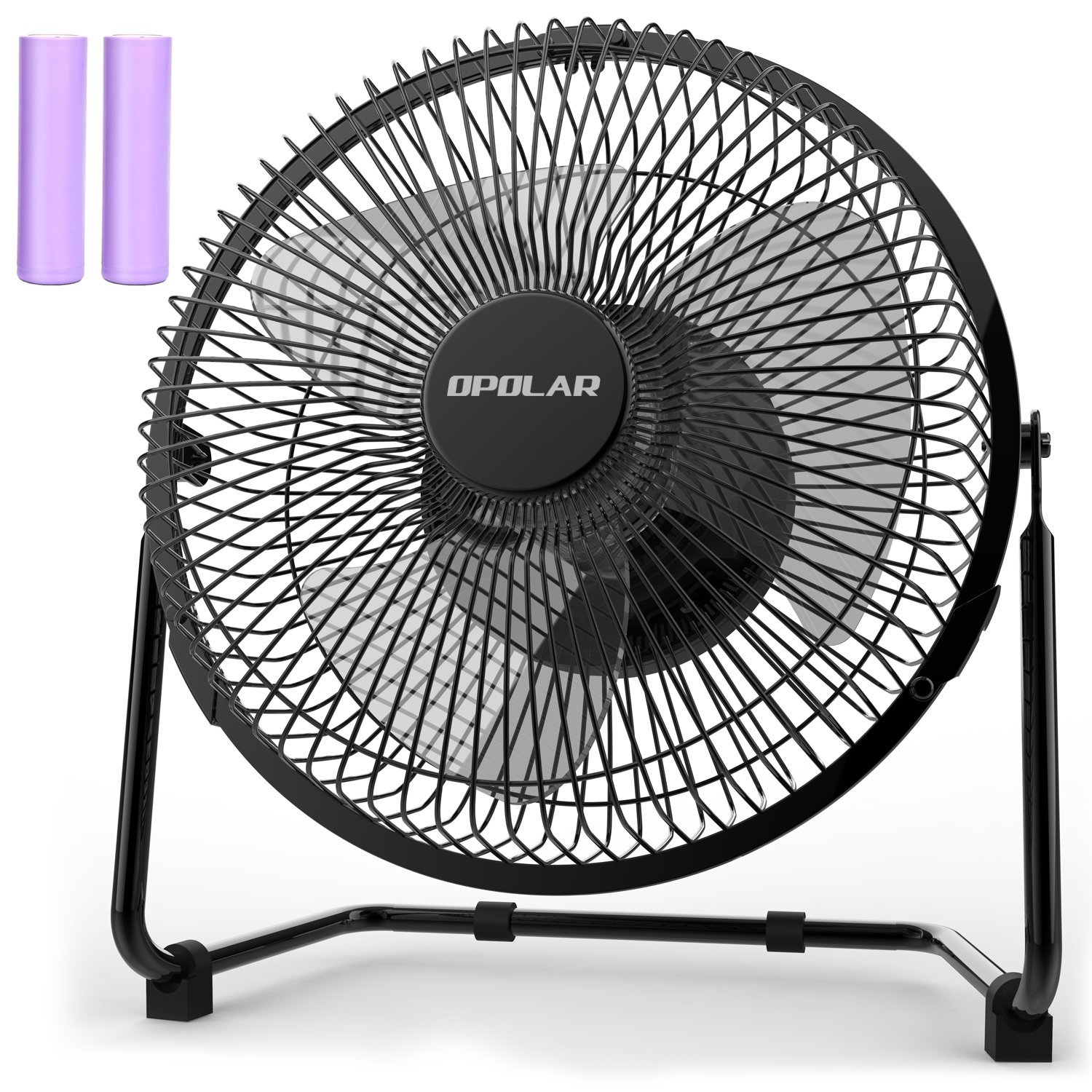 OPOLAR 9 Inch Battery Operated Rechargeable Fan, Metal USB Desk Fan with 5200 mAh Capacity, Strong Airflow, Lower Noise, Two Speeds, Personal Cooling Fan for Home & Office & Camping & Hurricane