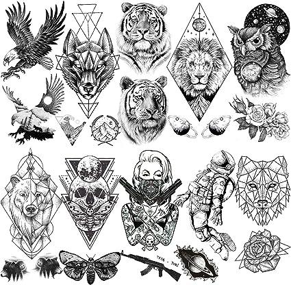 LAROI 10 Hojas Gran León Tigre Tatuaje Temporal Animales Negro ...