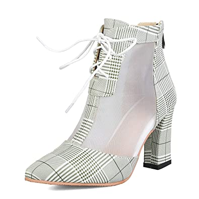 9d5f9d7734a Amazon.com | Spring Ankle Boots Women Block High Heel Breathable ...