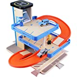 iPlay, iLearn - Car Parking Garage Toy Set, Cars Vehicles Play Set for Kid, Wooden Parking Garage Station with Race Car Track Play Set for 2, 3, 4, 5 Year Old And UP Kids, Boys & Girls, Toddler