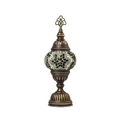 TK Bazaar Lámpara de mesa con mosaico marroquí hecha a mano ...