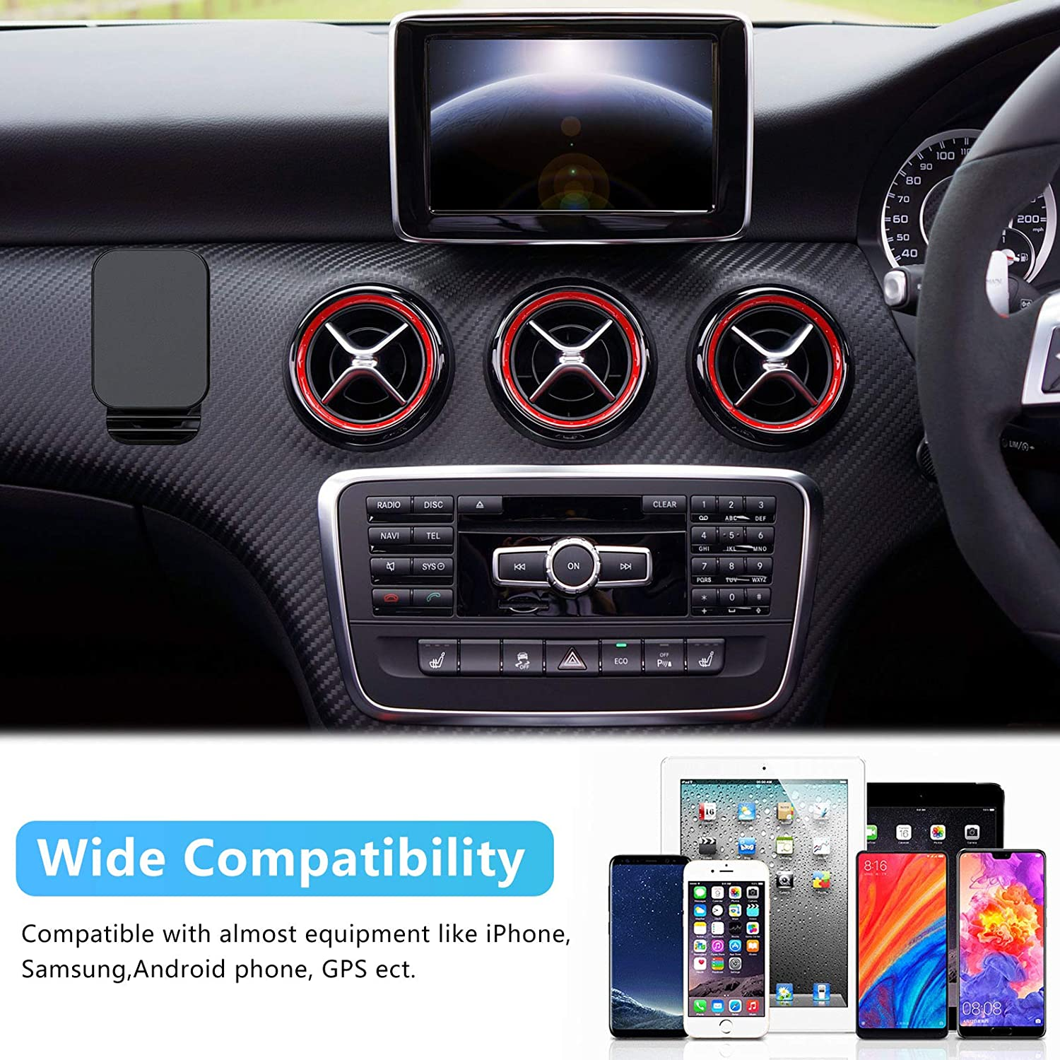 4 Pieces Magnetic Dash Car Mount Phone Holder Dashboard Car Phone Mount Universal Magnetic Cellphone Stand Compatible with Most Smartphones
