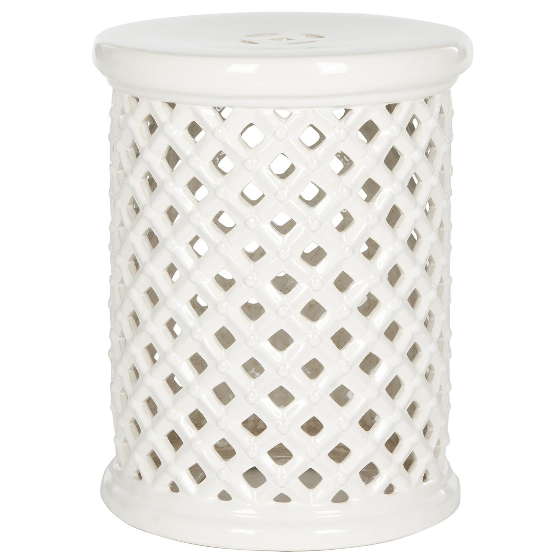 Amazon.com: Safavieh Castle Gardenu0027s Collection Glazed Ceramic Cream Isola  Garden Stool: Kitchen U0026 Dining