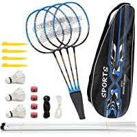 Fostoy Badminton Racquets, Portable Badminton Racket Sets for Adult and Children, Badminton Set Including 4 Rackets, 3…