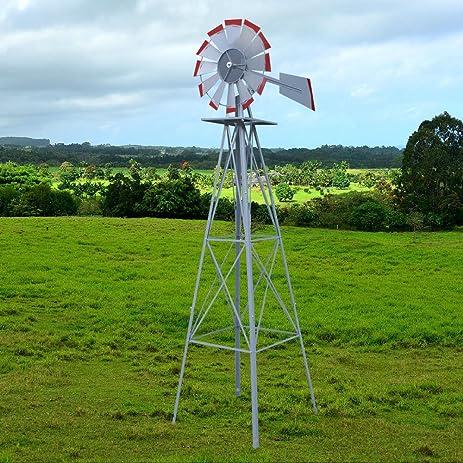 LEMY 8u0027 Ornamental Garden Windmill Vane Weather Resistant Metal (Silver)