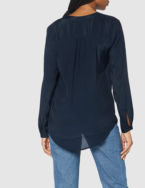 Silkesklistermärke dam blus – modeblus – unik – V-ringad – normal passform – lång ärm Mörk safir