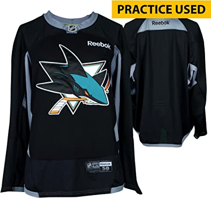 d704aa8d8 ... best price san jose sharks practice used black reebok jersey size 58 fanatics  authentic certified bb32e ...