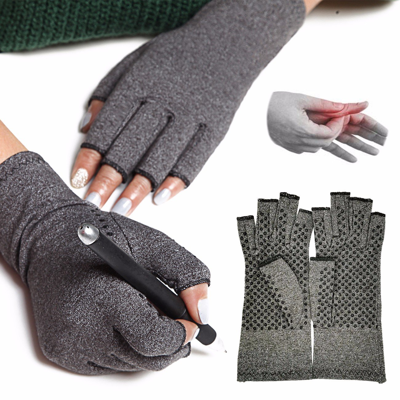 FITTOO Anti-Slip Arthritis Gloves (1 Pair) Gentle Compression for Recovery and Relieve Symptoms of Arthritis, RSI, Carpal Tunnel, Tendonitis, for Men and Women M