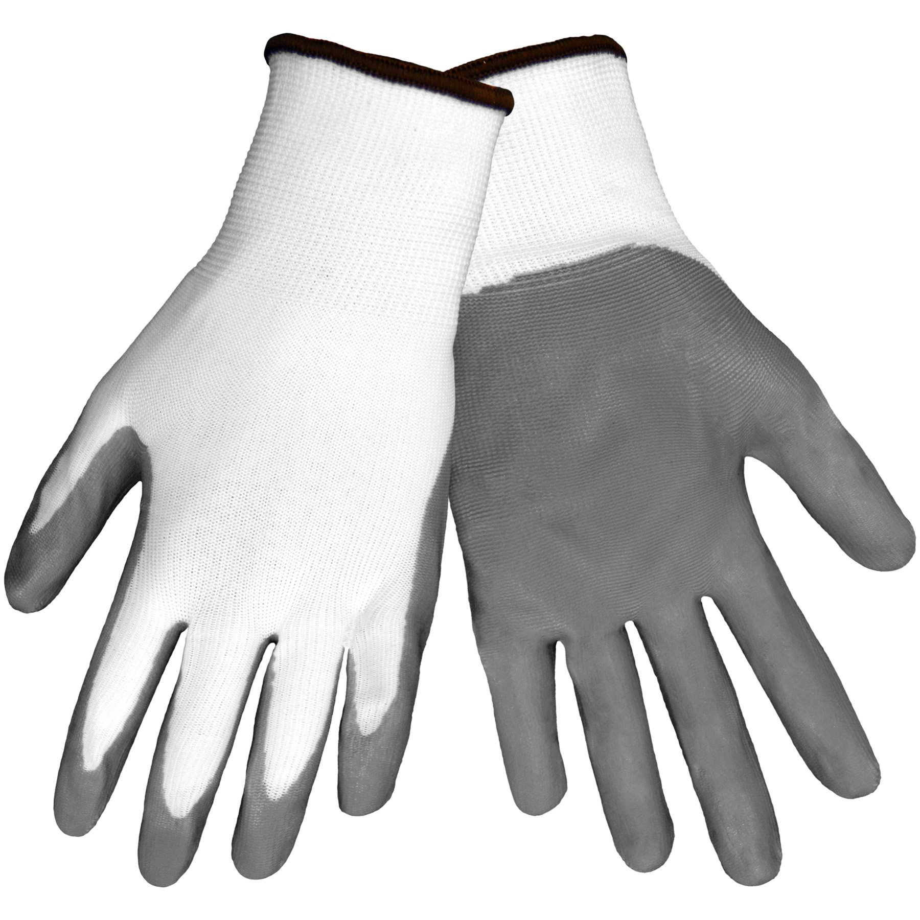 Global Glove 550E Gripster Economy Ultra Light Nitrile Glove with Knit Wrist Liner, Work, Extra Large, Gray/White (Case of 72)