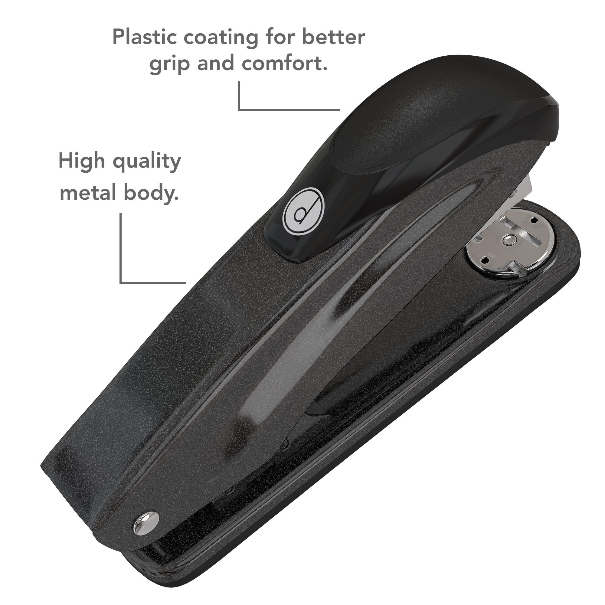 Desk Stapler Set (4 Pack) for Office, School and Home - Small, Compact, Effortless & Ergonomic Metal Design - 20 Sheets Standard 24-26/6 Size - Black by desired tools (Image #2)