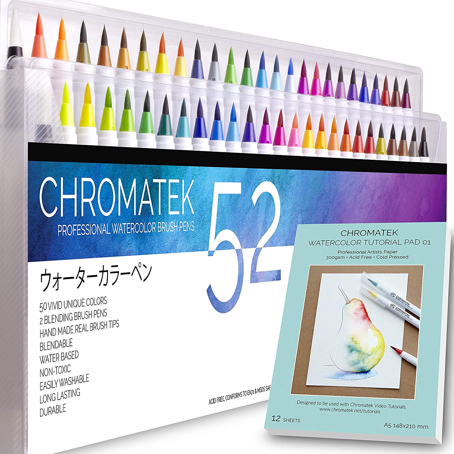 52 Watercolor Brush Pens, Tutorial Pad & Video Series by Chromatek. Real Brush Tip. Vivid. Smooth. Blendable. Long Lasting. Professional Artist Quality. 50 Colors 2 Blending Brushes.