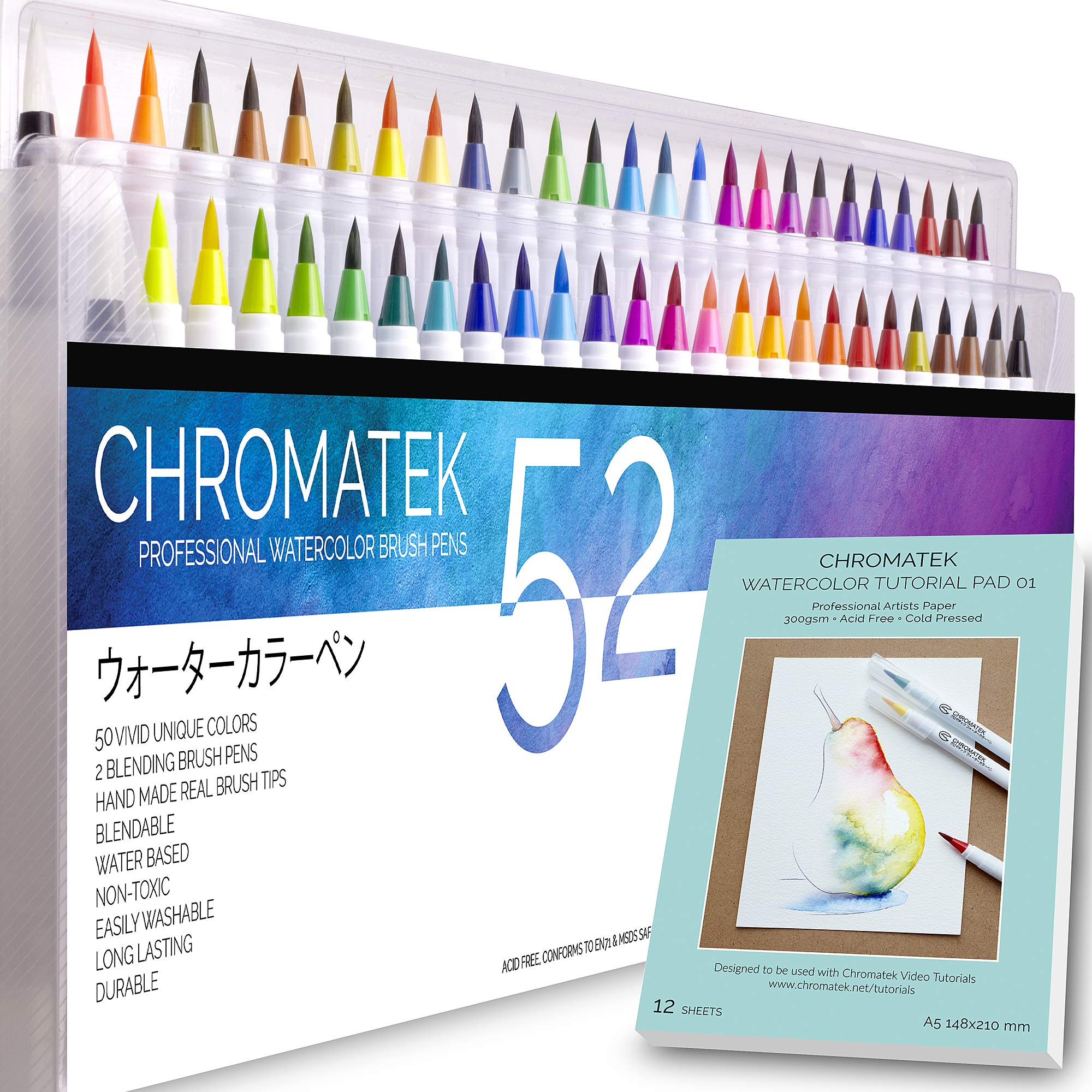 52 Watercolor Brush Pens, Tutorial Pad & Video Series by Chromatek. Real Brush Tip. Vivid. Smooth. Blendable. Long Lasting. Professional Artist Quality. 50 Colors 2 Blending Brushes.