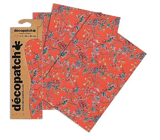 Decopatch - Papel estampado para forrar (3 unidades), diseño de flores, color naranja: Amazon.es: Hogar