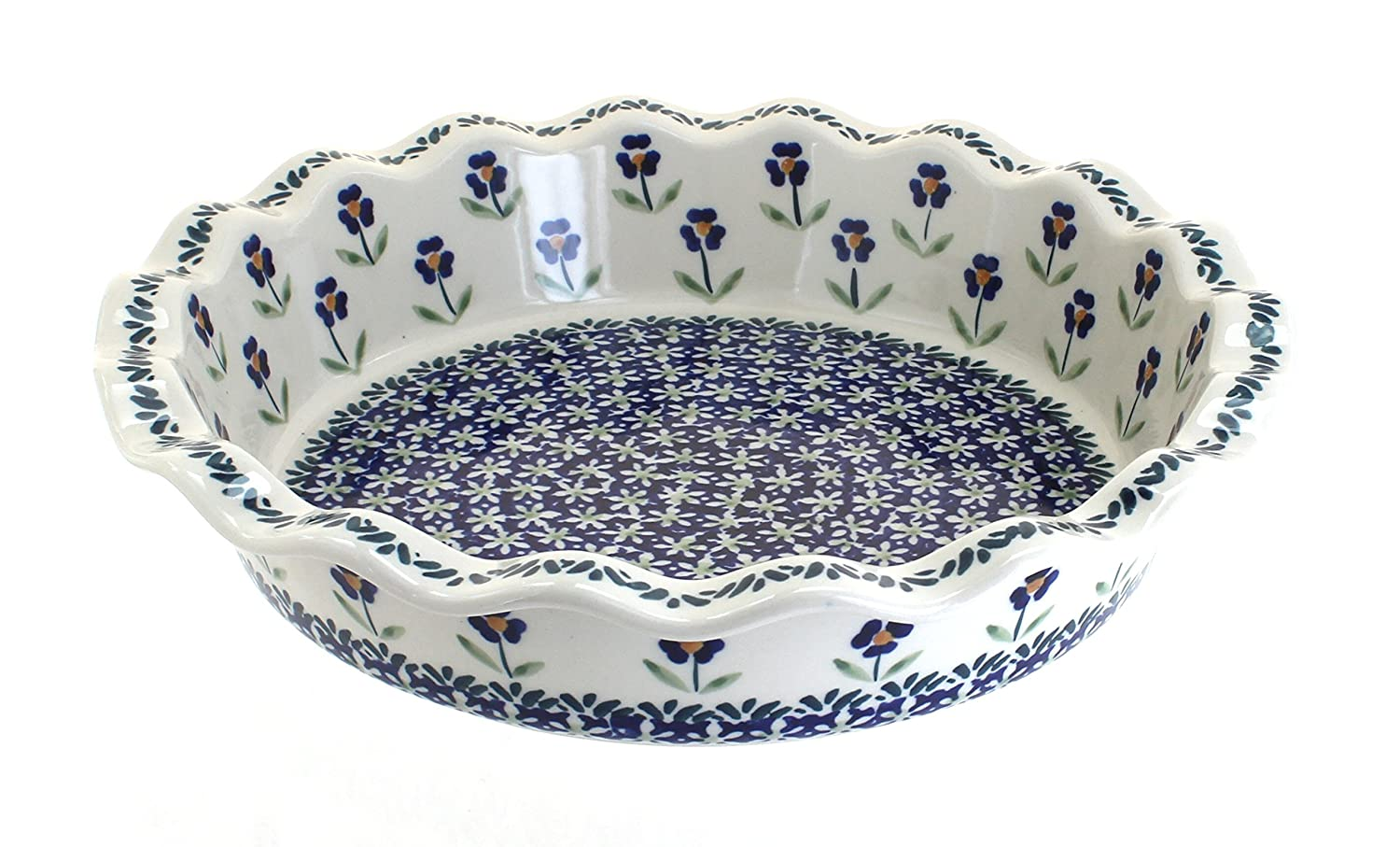 Polish Pottery Blue Daisy Pie Plate Manufaktura