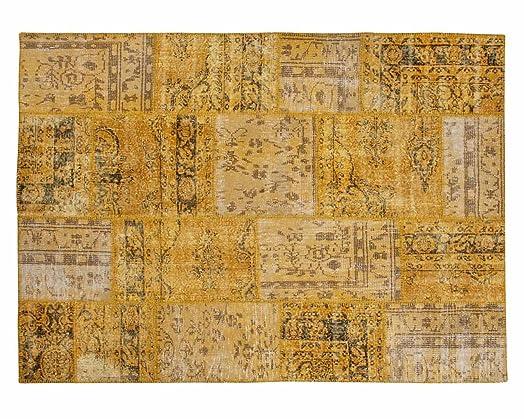 zehra diseador patchwork alfombra hecha a mano amarilla de antiguas alfombras vintage 200cm x - Alfombras Vintage