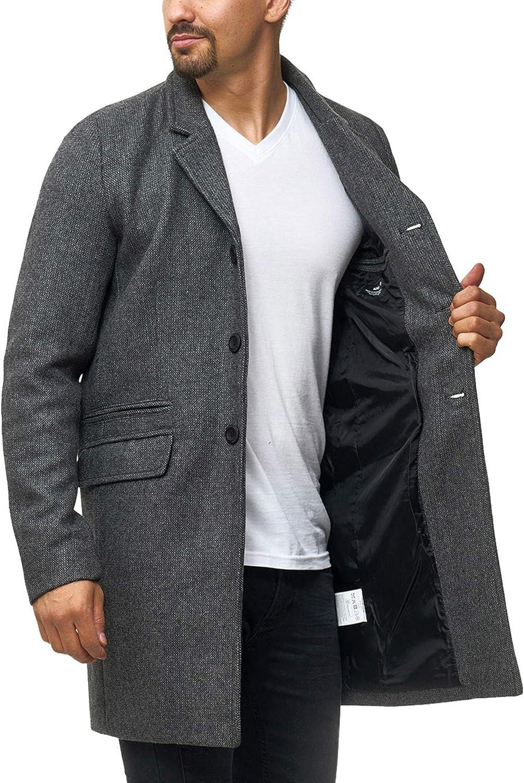 Indicode Caballeros Ilchester Abrigo De Lana con Cuello Alto Liso Moteado O Estampado Cuadros Tweed Invierno Largo Chaqueta Entretiempo para Hombres