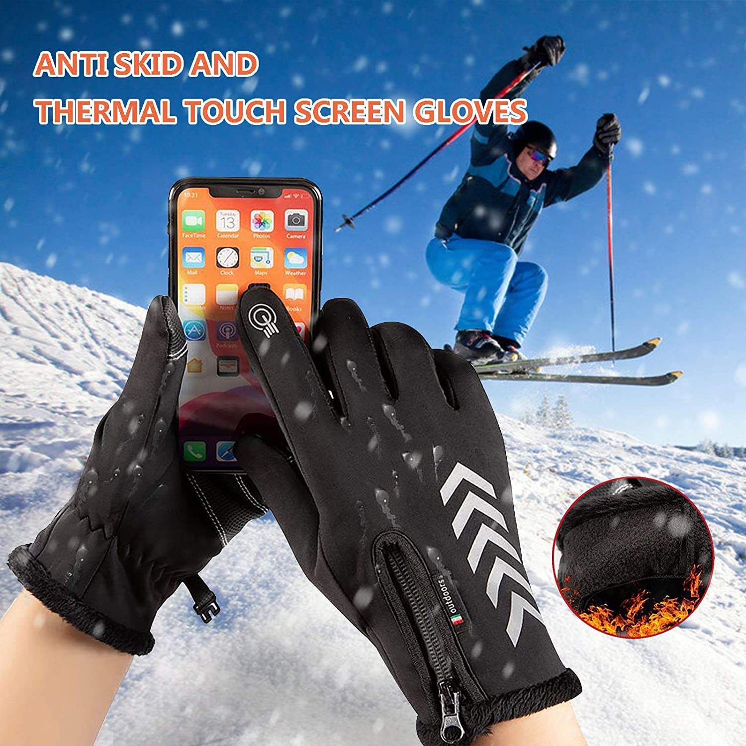 C-Easy Touchscreen Gloves with Lining,Warm Thermal /& Anti-Skid /& Waterproof Winter Gloves,All Finger Touch Screen Gloves with Zipper for Cycling and Outdoor Work