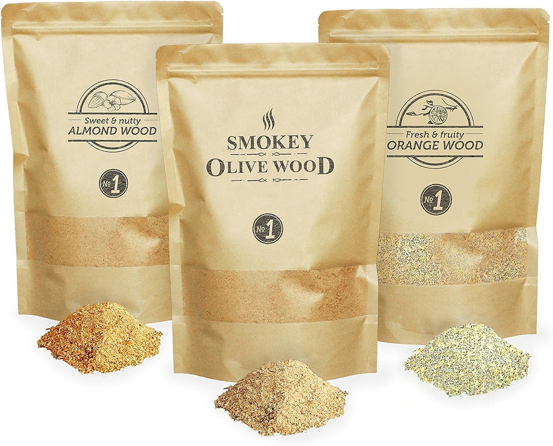 Smokey Olive Wood 3X 1.5 litros, serrín de Madera para ahumar, Olivo + Haya, Naranjo, Almendro