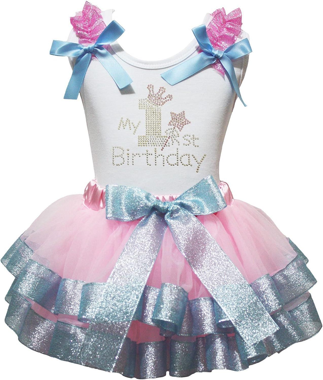 Petitebelle mi 1st cumpleaños Volantes Camisa Rosa Azul ...