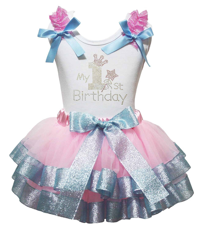 Petitebella My 1st Birthday Ruffles Shirt Pink Blue Petal Skirt Outfit Set Nb-2y PO1459