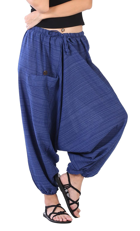 201b532aace7c7 Top2: CandyHusky Women Aladdin Loose Baggy Boho Hippie Harem Capri Pants  Stripe Cotton