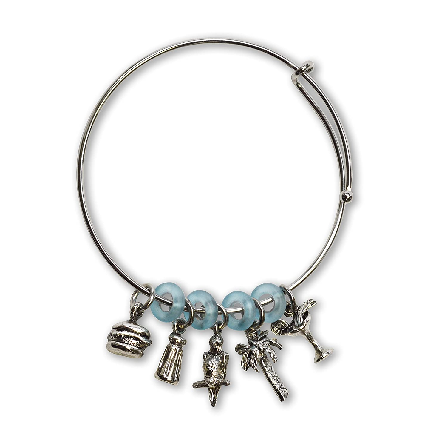 Paradise Parrot Head Wire Bracelet with Five Charms and Blue Beads for cheap