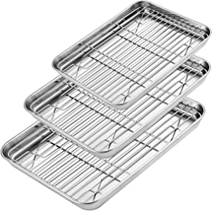 E-Gtong Baking Sheet with Rack Set [3 Sheets + 3 Racks], Stainless Steel Cookie Sheet Baking Pans with Nonstick Cooling Rack, Non Toxic Healthy, Superior Mirror Finish & Easy Clean, Oven & Dishwasher
