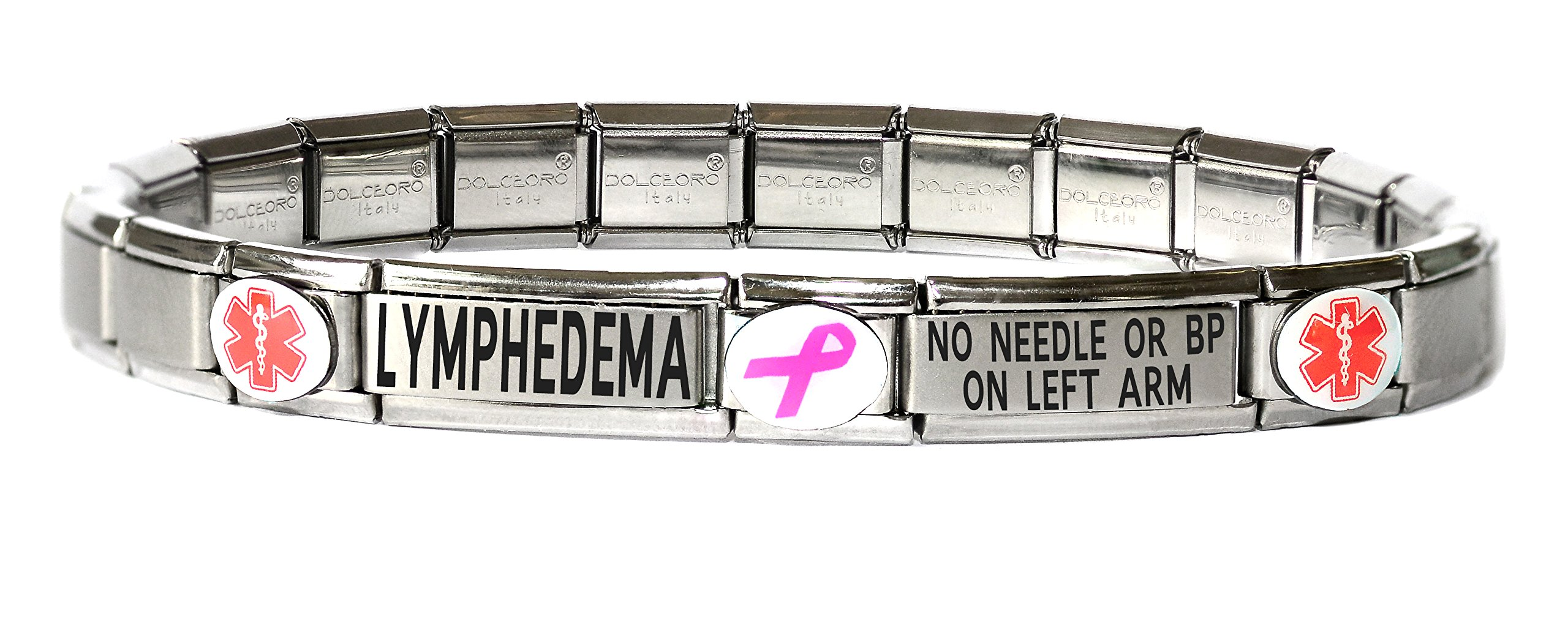 Dolceoro Lymphedema No Needle BP ON Left ARM Medical Alert Bracelet - Stainless Steel Stretchable Modular Charm Links