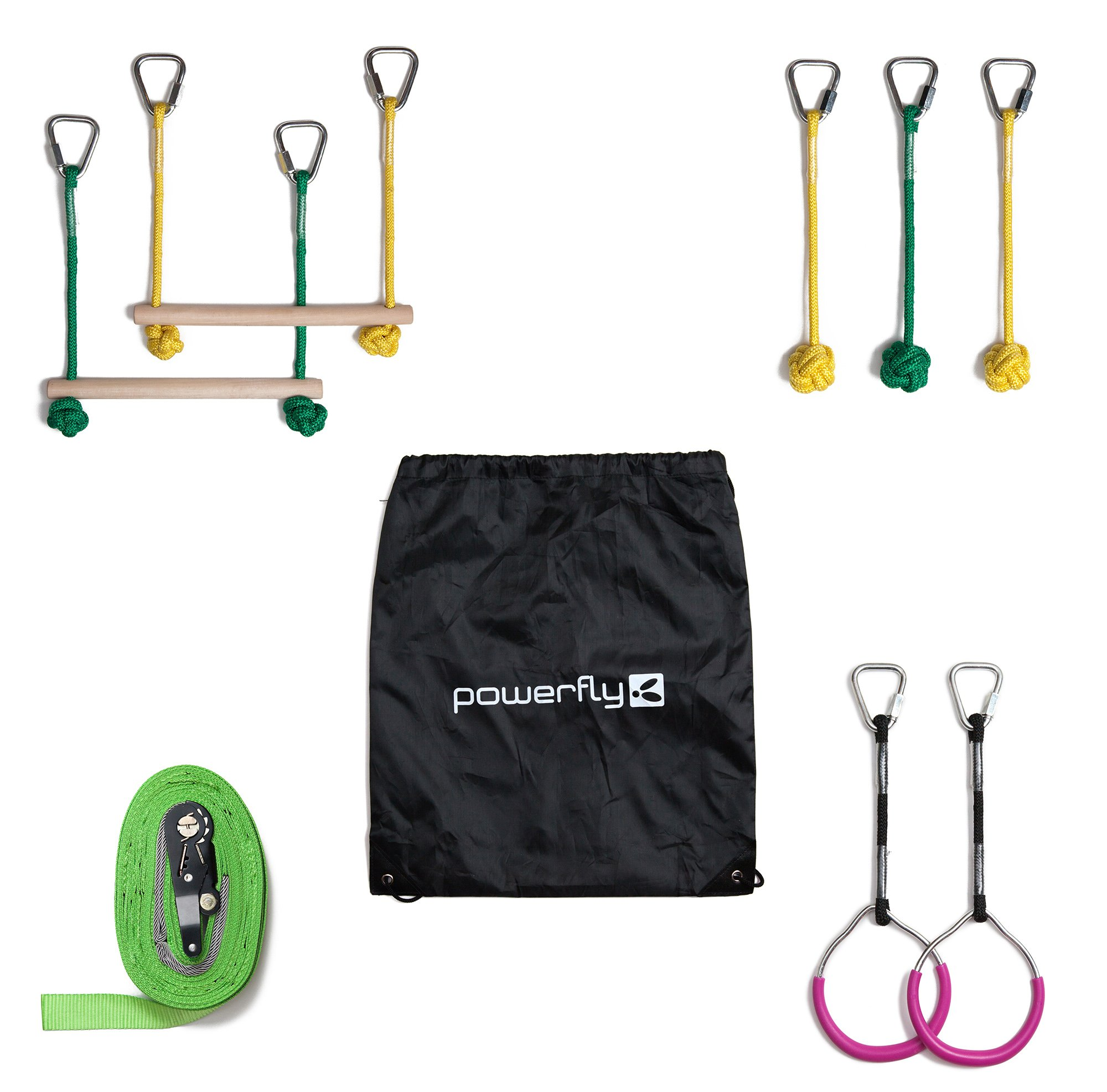 Powerfly Ninja Hanging Obstacle Course Kit for Kids - 36' Slackline, 2 Monkey Bars, 2 Gymnastics Rings, 3 Fists - Obstacles Adventure Line Equipment Set for Backyard or Playground Activities by Powerfly (Image #4)