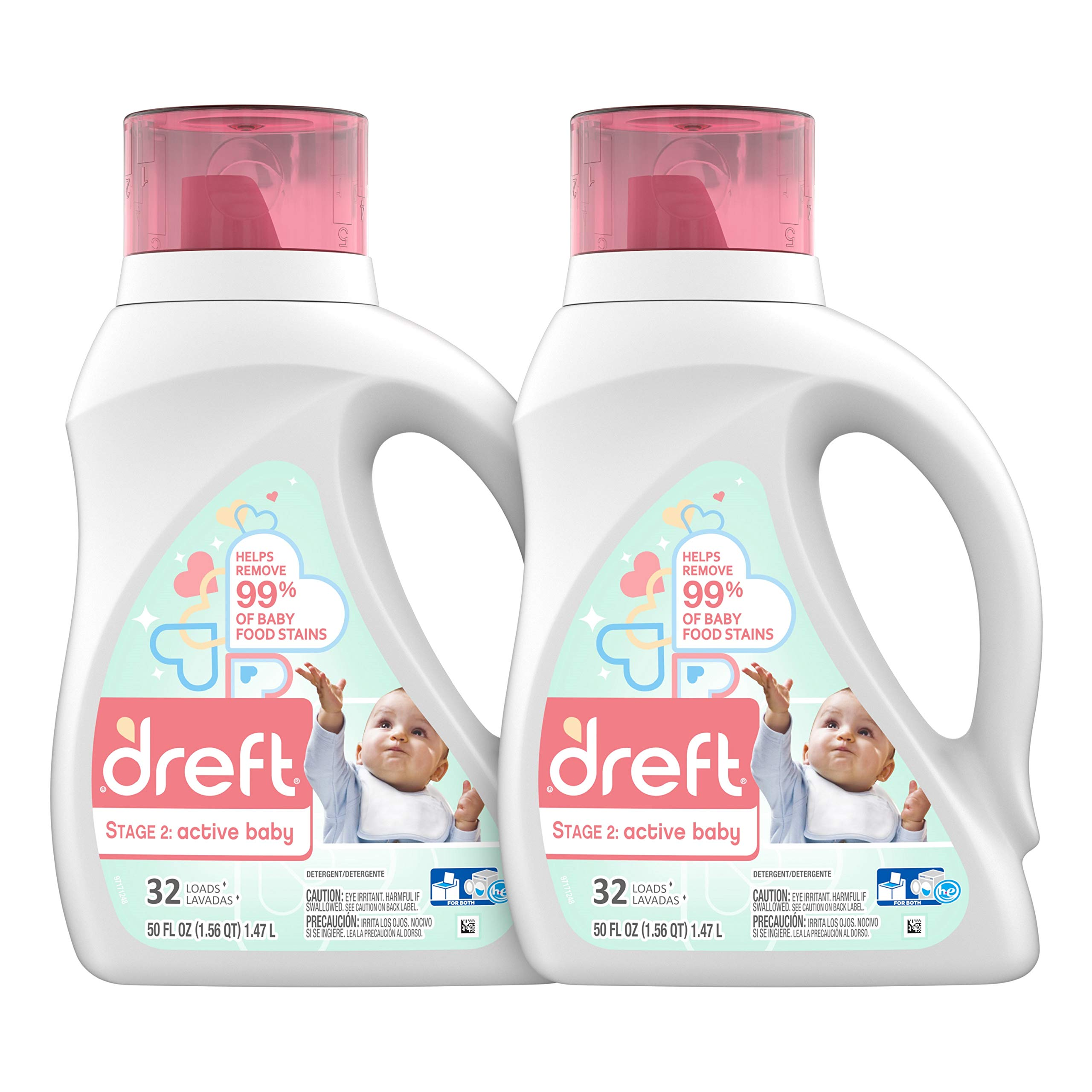 Dreft Stage 2: Active Hypoallergenic Liquid Baby Laundry Detergent for Baby, Newborn, or Infant, 50 Ounces(32 Loads), 2 Count (Packaging May Vary) by Dreft