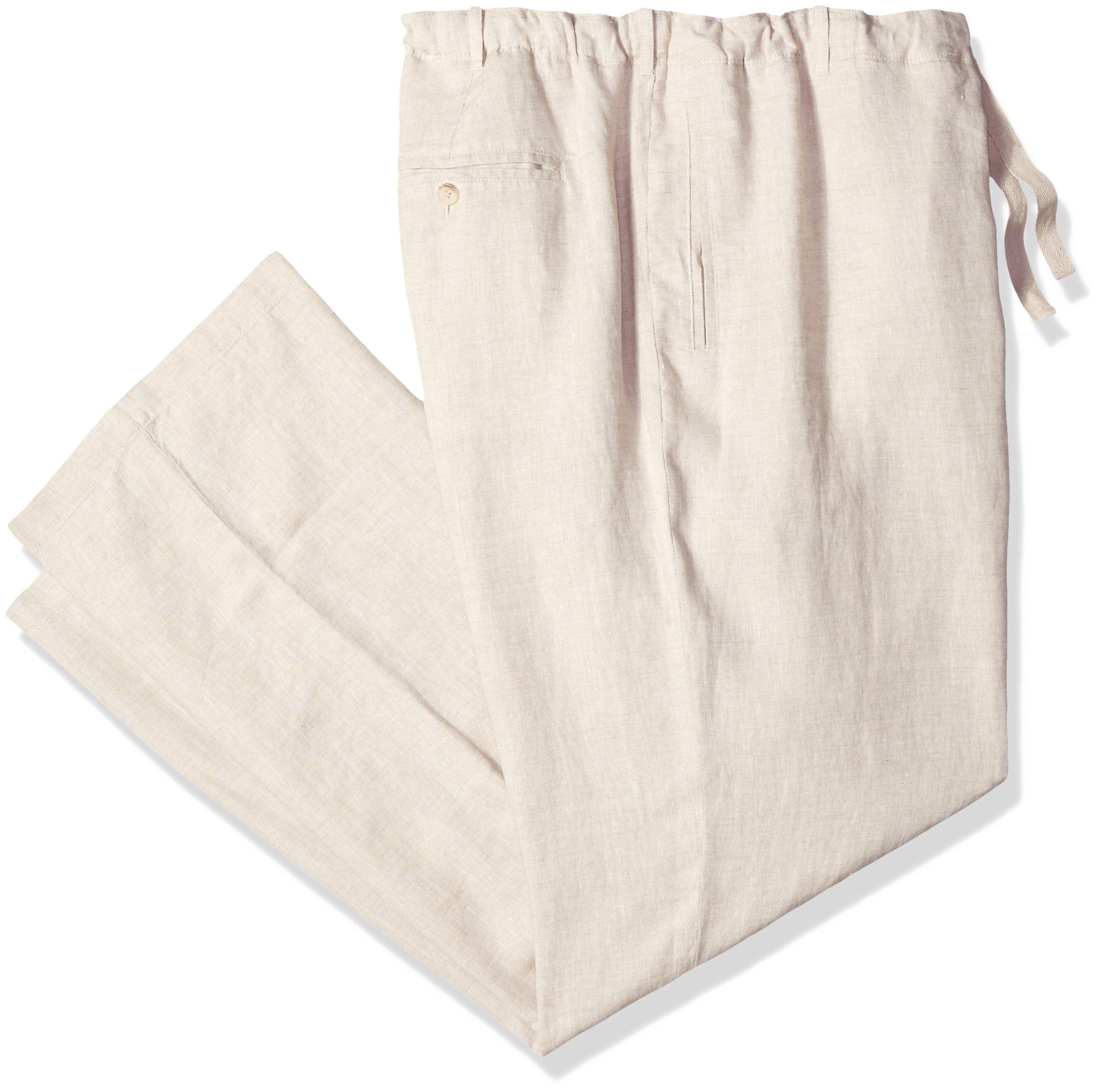 Perry Ellis Men's Big and Tall Linen Drawstring Pant, Natural Linen, 48W X 32L