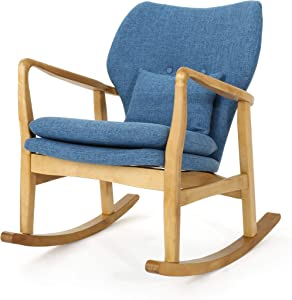 Christopher Knight Home Benny Mid-Century Modern Fabric Rocking Chair, Muted Blue / Light Walnut