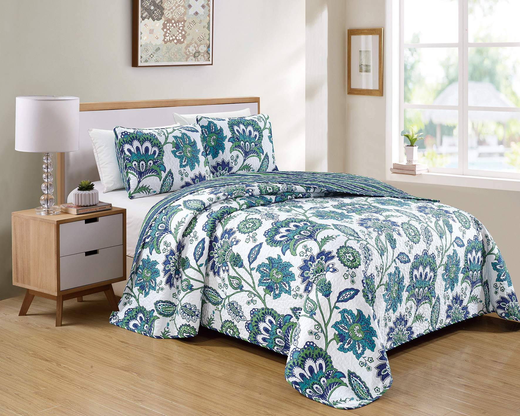 Kids Zone Home Linen 3 Piece Full/Queen Over Size Bedspread Set Flowers Print White Blue Green by Kids Zone Home Linen
