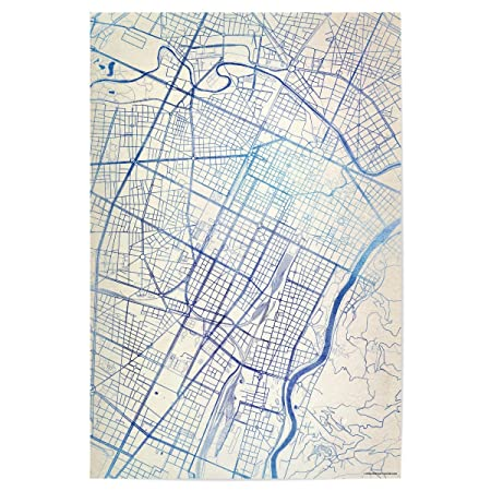 Artboxone Poster Cities Turin Italy Blue Infusion Map Ii 150x100