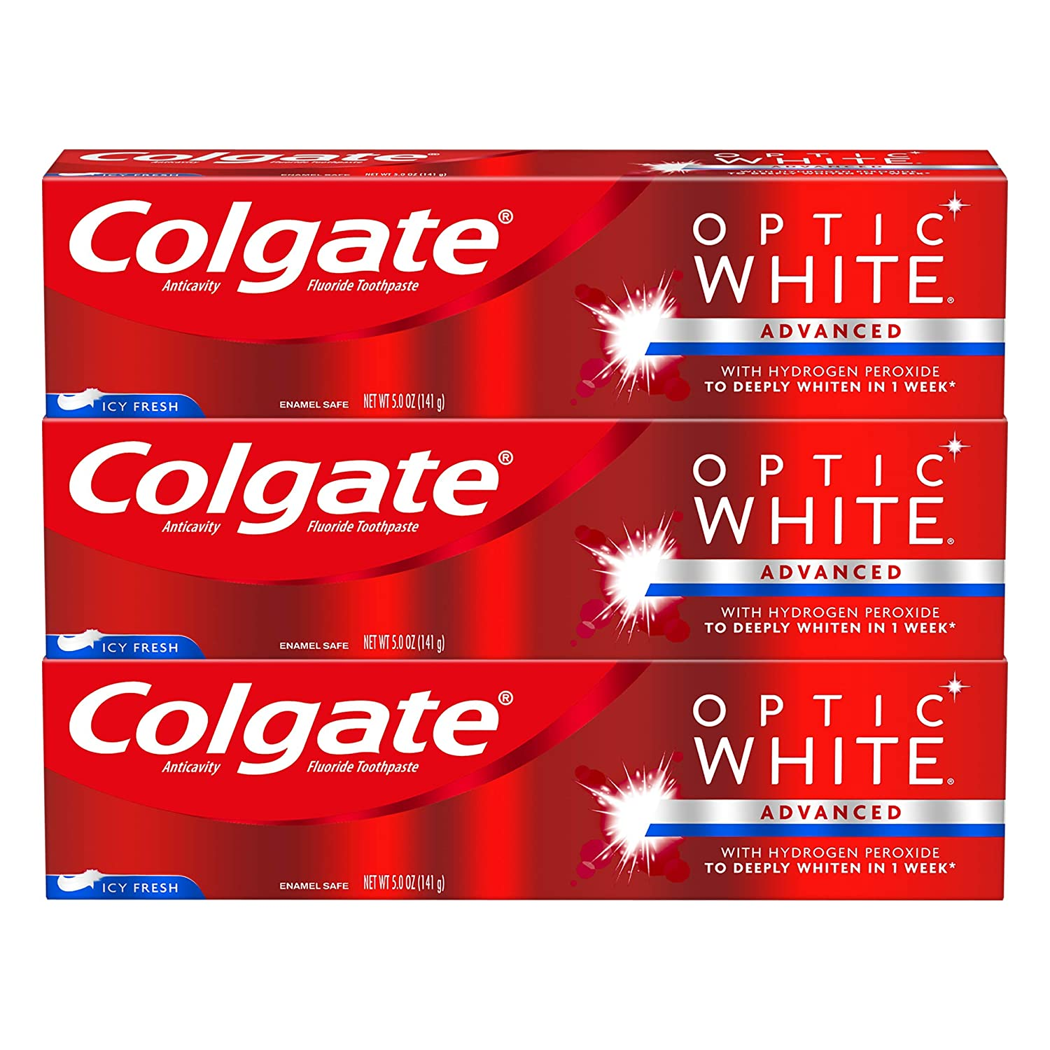 Colgate Optic White Whitening Toothpaste, Icy Fresh - 5.0 Ounce (Pack of 3)