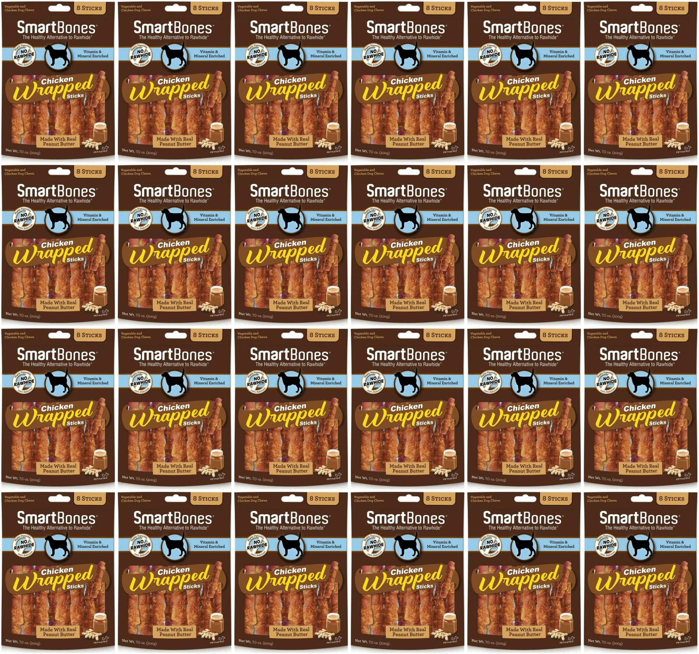 SmartBones Chicken Wrapped Sticks Dog Chews, Peanut Butter, 8 Count, 24 Pack by SmartBones (Image #1)