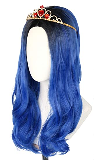 Topcosplay Evie Wig for Kids Child Girls Long Wavy Blue Wig Halloween Costume Cosplay Wig Black Roots