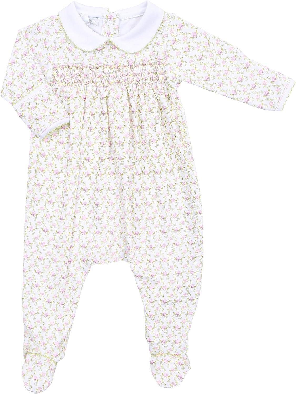 Magnolia Baby Baby Girl Belles Classics Smocked Collared Footie Pink