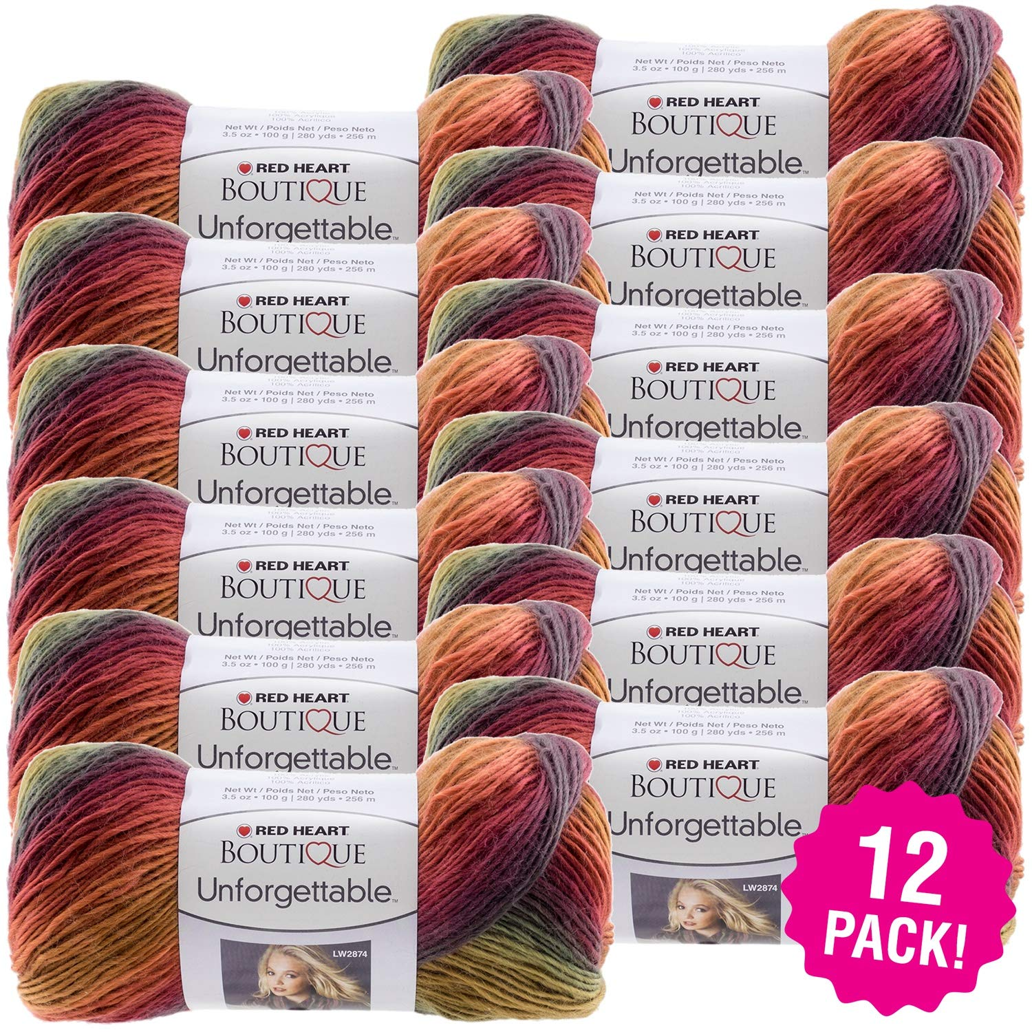 Red Heart 99431 Boutique Unforgettable Yarn 12/Pk-Polo, Pack