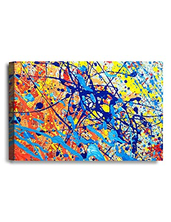 IPIC - Abstract Jackson Pollock Style Artwork  Giclee Print on Canvas Wall  Art for Home Decor  36x24x1 5