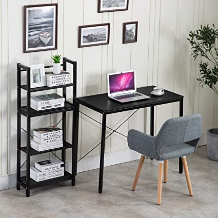 Merveilleux Amazon.com : Multipurpose Desk And Shelf Rack Study Table Computer With 4  Tier Bookshelves Home Office School Supplies : Office Products