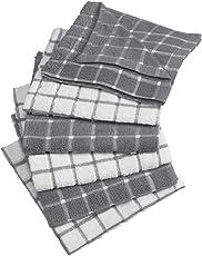 DII Trapo clásico para platos, 100 % de algodón, diseño de ventana, para uso diario en la cocina, lavable en lavadora, 30.48 cm x 30.48 cm, juego de 6, gris