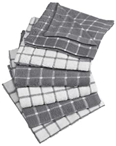 "DII Cotton Terry Windowpane Dish Cloths, 12 x 12"" Set of 6, Machine Washable and Ultra Absorbent Kitchen Dishcloth-Gray"