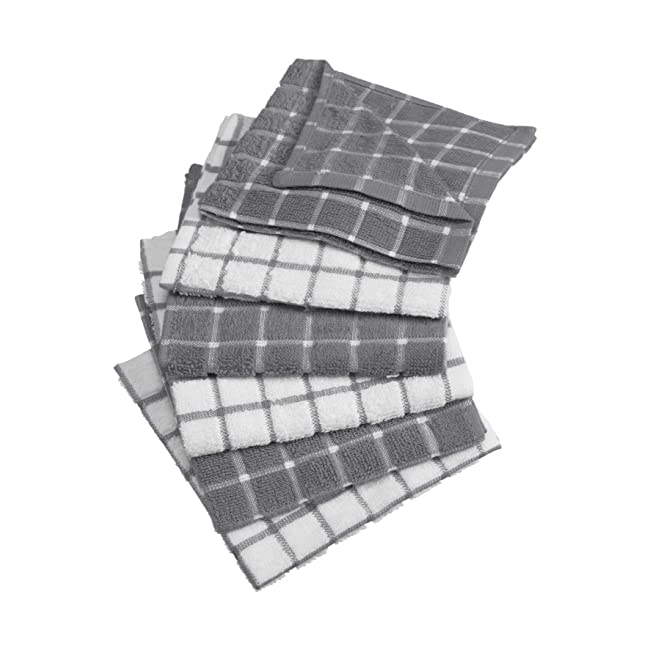 DII Cotton Terry Windowpane Dish Cloths, 12 x ...